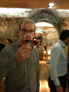 A punter enjoying the wines on show