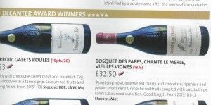 Decanter Award Bosquet Chante 2007