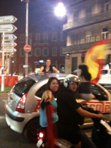 Spanish Fans on Nice Port after World Cup