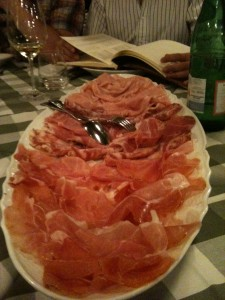 Plate of Cold Cut meats in Verona