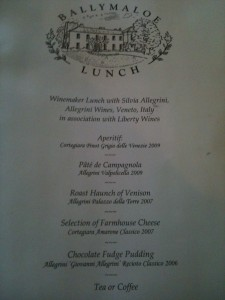 Allegrini lunchmenu at Ballymaloe House