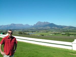Gary Gubbins of Red Nose Wine in South Africa among the vines