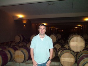 Gary Gubbins of Red Nose Wine in the Barrel room of Leoville Las Cases