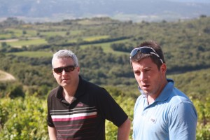 Gary Gubbins of Red Nose Wine and Samuel Guibert in the Gassac Valley